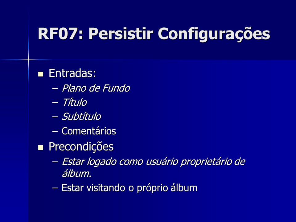 RF07: Persistir Configurações Entradas: Entradas: –Plano de Fundo –Título –Subtítulo –Comentários Precondições Precondições –Estar logado como usuário proprietário de álbum.