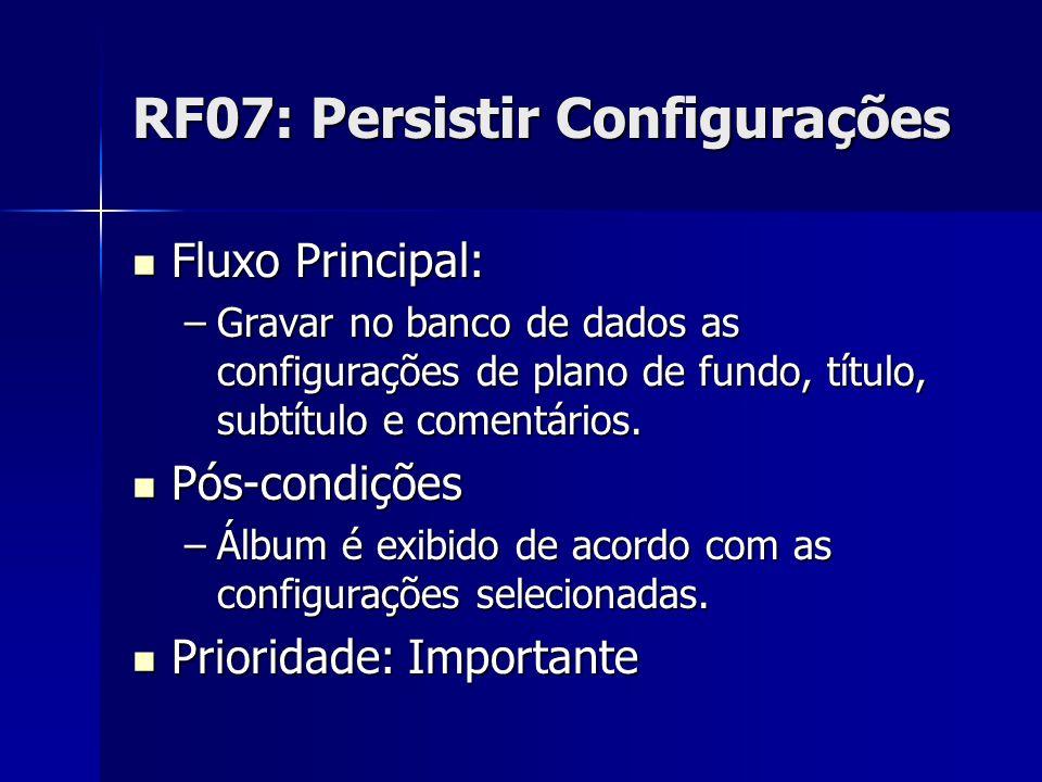 RF07: Persistir Configurações Fluxo Principal: Fluxo Principal: –Gravar no banco de dados as configurações de plano de fundo, título, subtítulo e comentários.