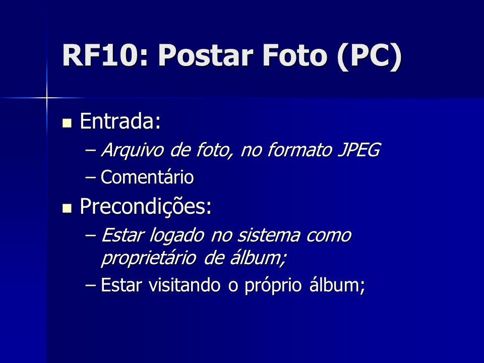 RF10: Postar Foto (PC) Entrada: Entrada: –Arquivo de foto, no formato JPEG –Comentário Precondições: Precondições: –Estar logado no sistema como proprietário de álbum; –Estar visitando o próprio álbum;