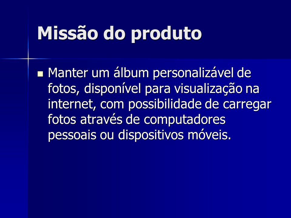 Missão do produto Manter um álbum personalizável de fotos, disponível para visualização na internet, com possibilidade de carregar fotos através de computadores pessoais ou dispositivos móveis.