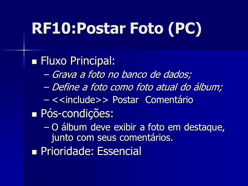 RF10:Postar Foto (PC) Fluxo Principal: Fluxo Principal: –Grava a foto no banco de dados; –Define a foto como foto atual do álbum; – > Postar Comentário Pós-condições: Pós-condições: –O álbum deve exibir a foto em destaque, junto com seus comentários.