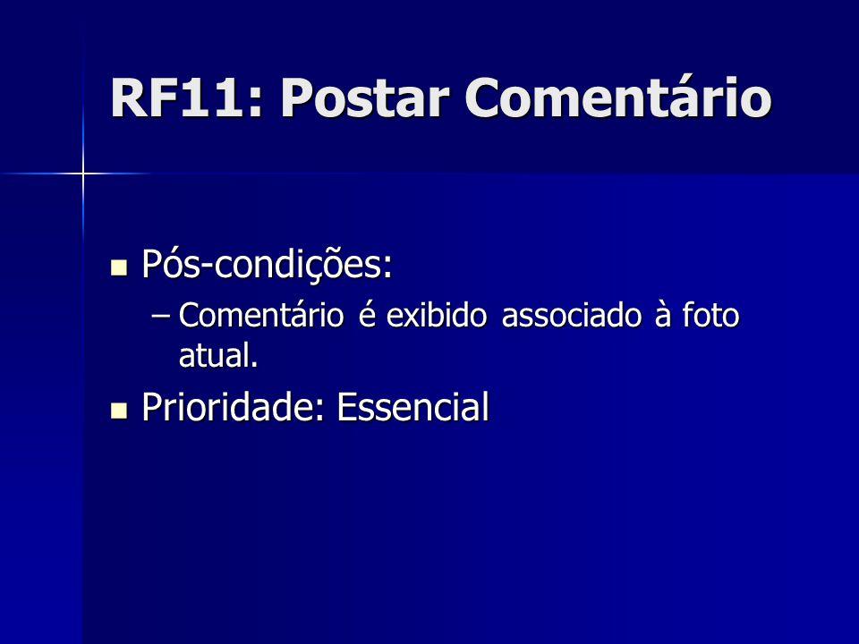 RF11: Postar Comentário Pós-condições: Pós-condições: –Comentário é exibido associado à foto atual.