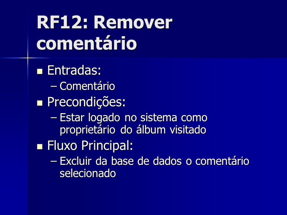 RF12: Remover comentário Entradas: Entradas: –Comentário Precondições: Precondições: –Estar logado no sistema como proprietário do álbum visitado Fluxo Principal: Fluxo Principal: –Excluir da base de dados o comentário selecionado