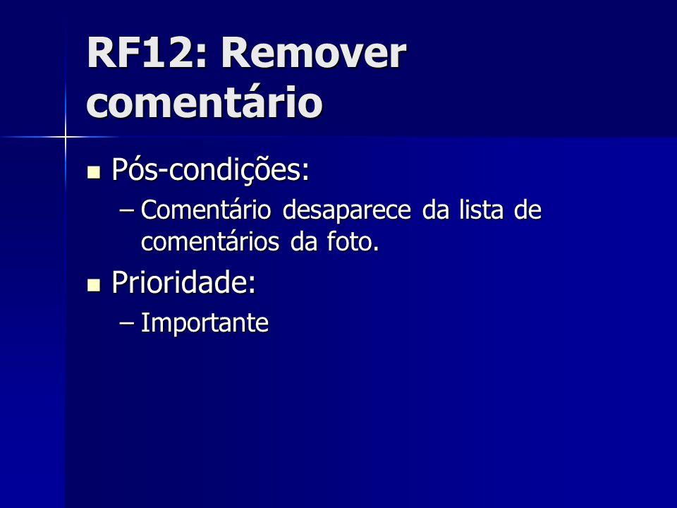 RF12: Remover comentário Pós-condições: Pós-condições: –Comentário desaparece da lista de comentários da foto.