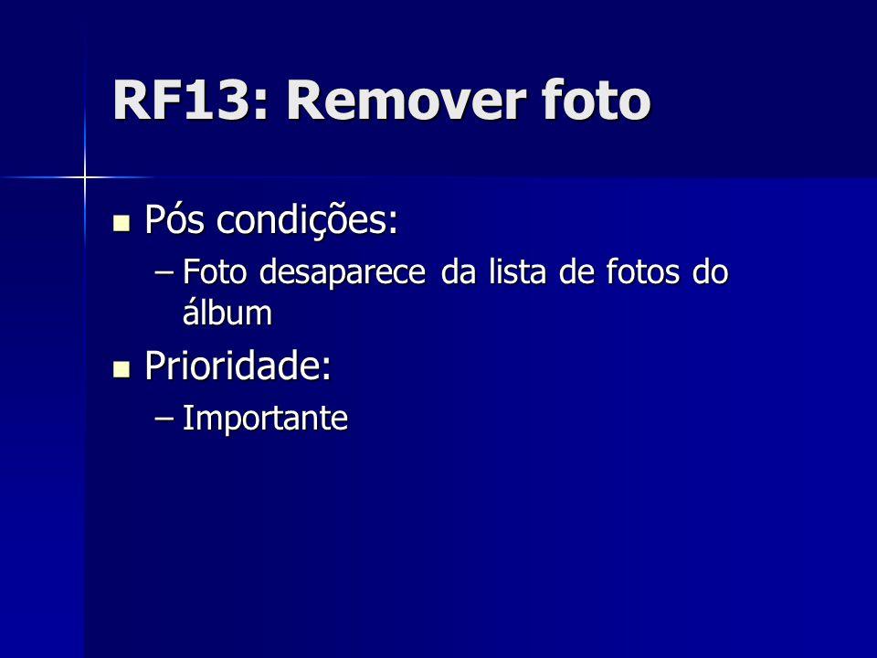 RF13: Remover foto Pós condições: Pós condições: –Foto desaparece da lista de fotos do álbum Prioridade: Prioridade: –Importante
