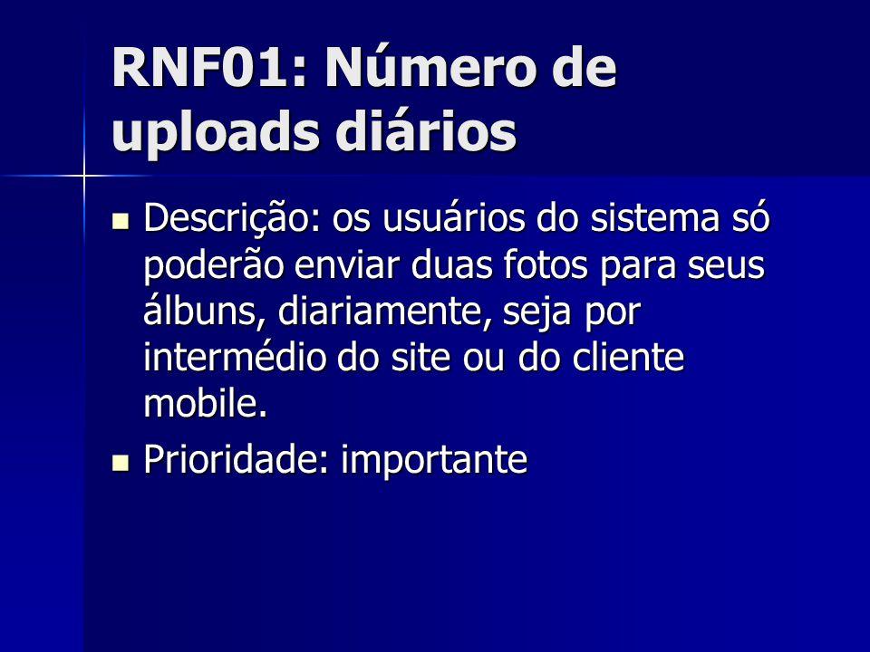 RNF01: Número de uploads diários Descrição: os usuários do sistema só poderão enviar duas fotos para seus álbuns, diariamente, seja por intermédio do site ou do cliente mobile.