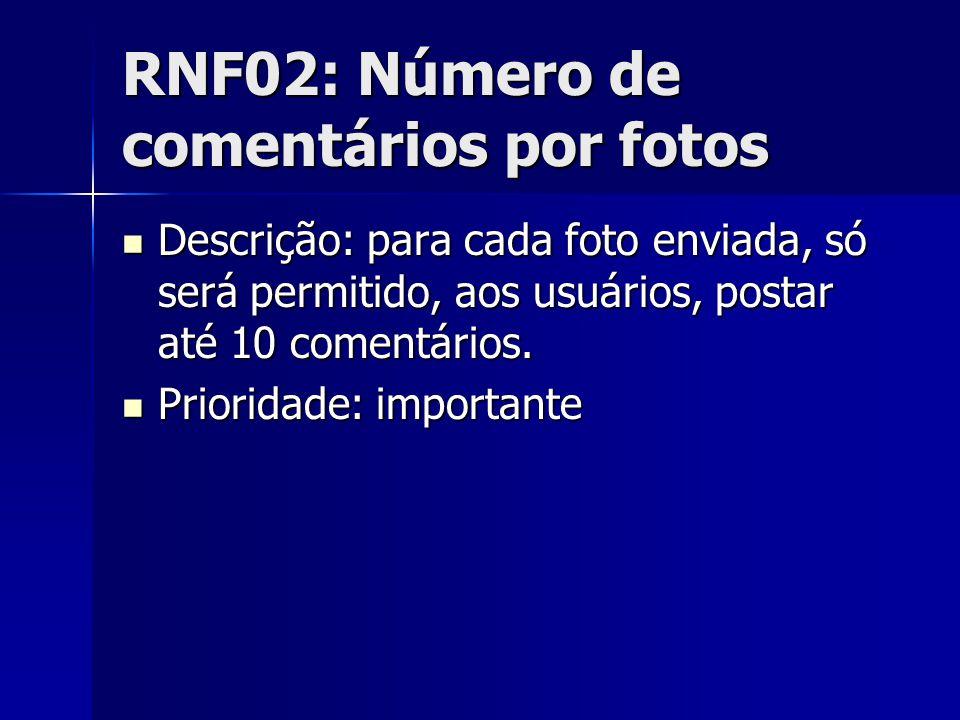 RNF02: Número de comentários por fotos Descrição: para cada foto enviada, só será permitido, aos usuários, postar até 10 comentários.