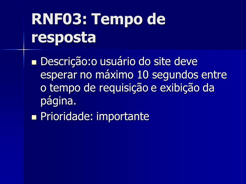 RNF03: Tempo de resposta Descrição:o usuário do site deve esperar no máximo 10 segundos entre o tempo de requisição e exibição da página.