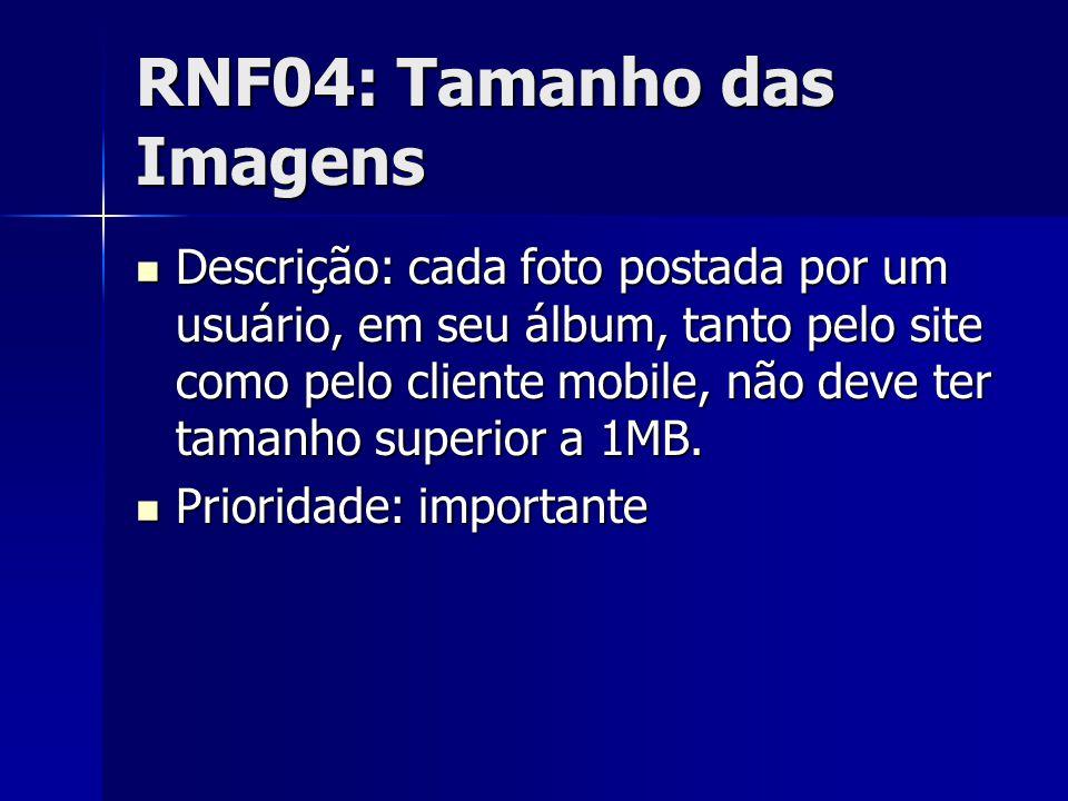 RNF04: Tamanho das Imagens Descrição: cada foto postada por um usuário, em seu álbum, tanto pelo site como pelo cliente mobile, não deve ter tamanho superior a 1MB.