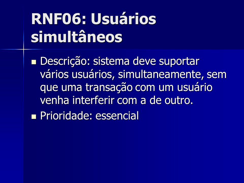RNF06: Usuários simultâneos Descrição: sistema deve suportar vários usuários, simultaneamente, sem que uma transação com um usuário venha interferir com a de outro.