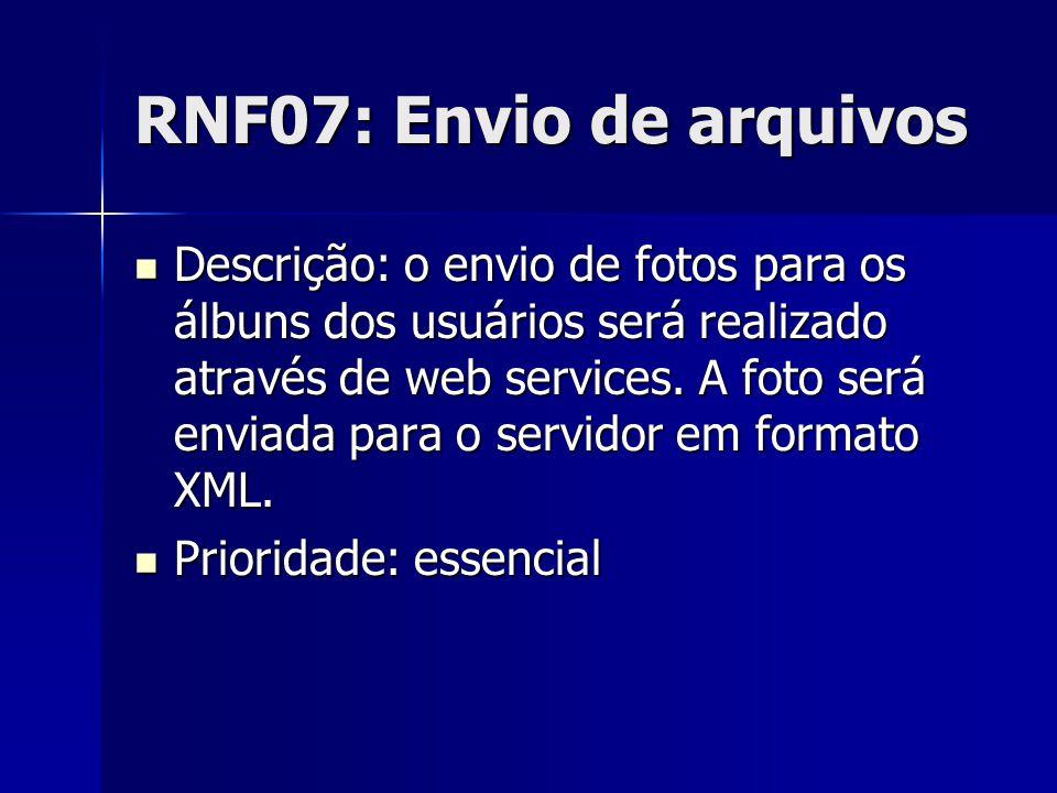 RNF07: Envio de arquivos Descrição: o envio de fotos para os álbuns dos usuários será realizado através de web services.