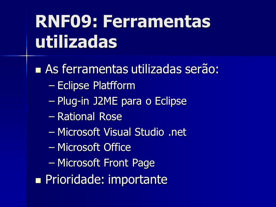 RNF09: Ferramentas utilizadas As ferramentas utilizadas serão: As ferramentas utilizadas serão: –Eclipse Platfform –Plug-in J2ME para o Eclipse –Rational Rose –Microsoft Visual Studio.net –Microsoft Office –Microsoft Front Page Prioridade: importante Prioridade: importante