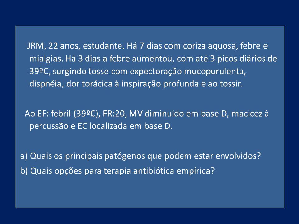 JRM, 22 anos, estudante. Há 7 dias com coriza aquosa, febre e mialgias. Há 3 dias a febre aumentou, com até 3 picos diários de 39ºC, surgindo tosse co