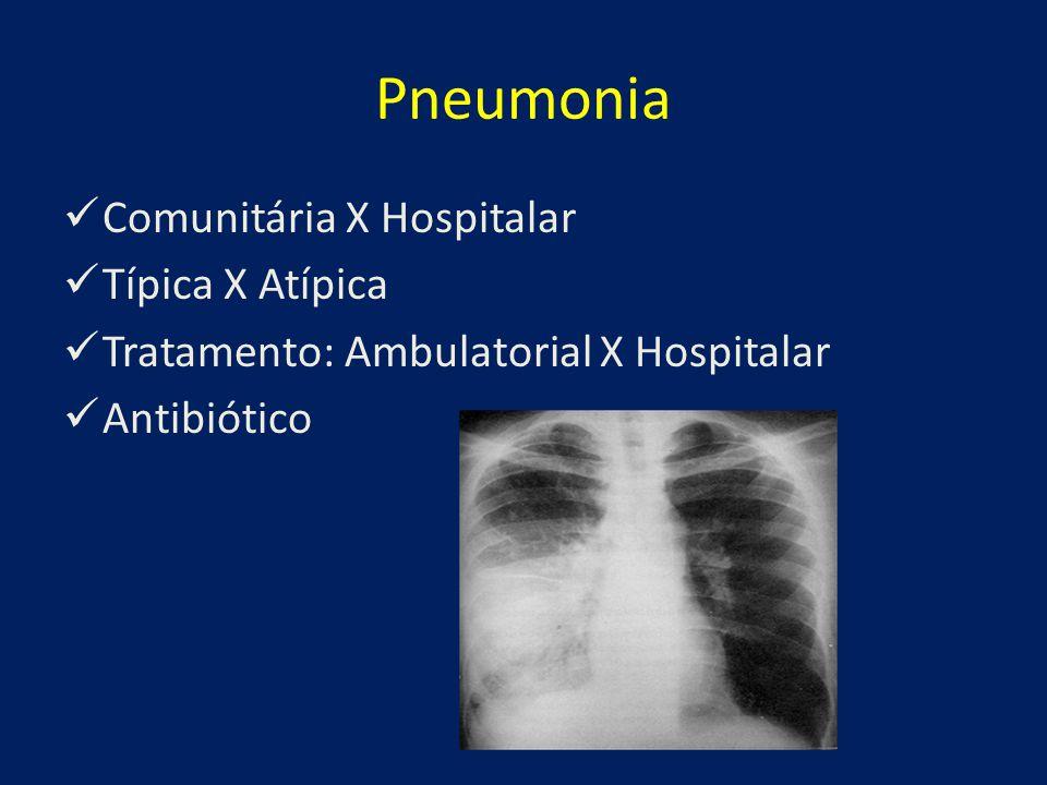 Pneumonia Comunitária X Hospitalar Típica X Atípica Tratamento: Ambulatorial X Hospitalar Antibiótico