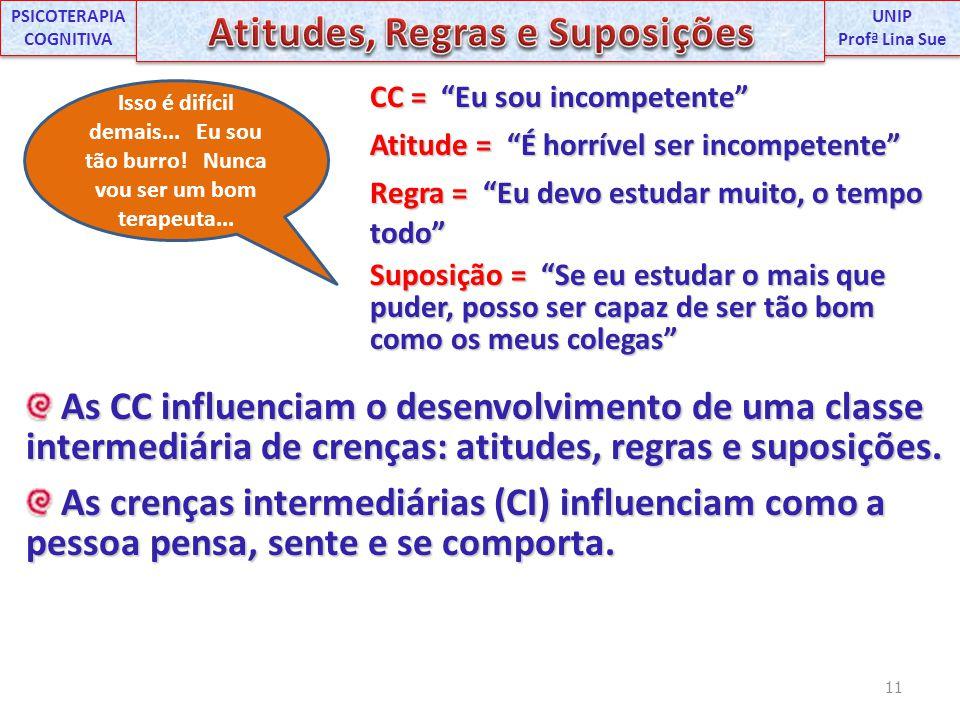 As CC influenciam o desenvolvimento de uma classe intermediária de crenças: atitudes, regras e suposições. As CC influenciam o desenvolvimento de uma