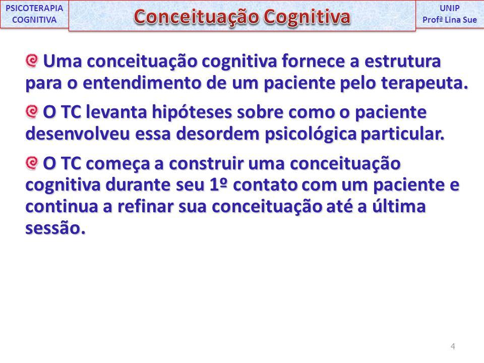 Uma conceituação cognitiva fornece a estrutura para o entendimento de um paciente pelo terapeuta. Uma conceituação cognitiva fornece a estrutura para
