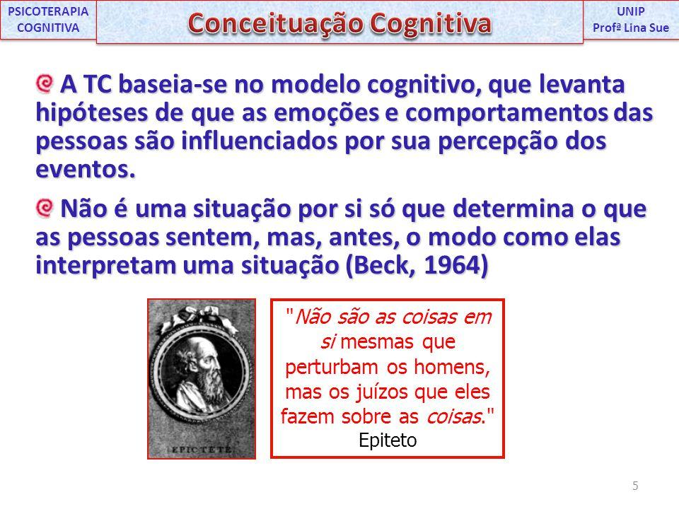 A TC baseia-se no modelo cognitivo, que levanta hipóteses de que as emoções e comportamentos das pessoas são influenciados por sua percepção dos event