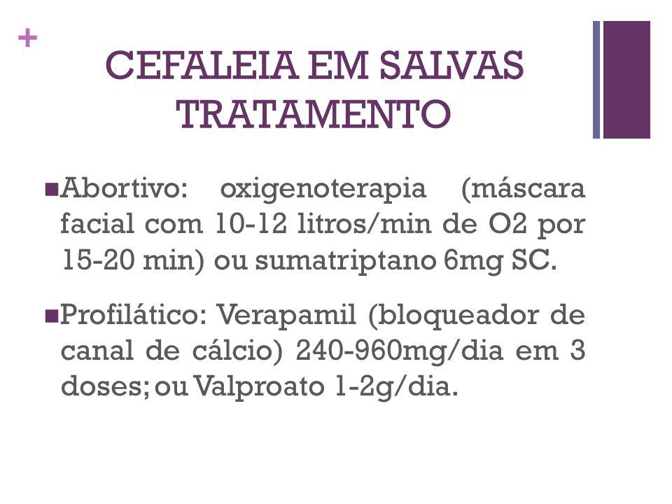 + CEFALEIA EM SALVAS TRATAMENTO Abortivo: oxigenoterapia (máscara facial com 10-12 litros/min de O2 por 15-20 min) ou sumatriptano 6mg SC. Profilático