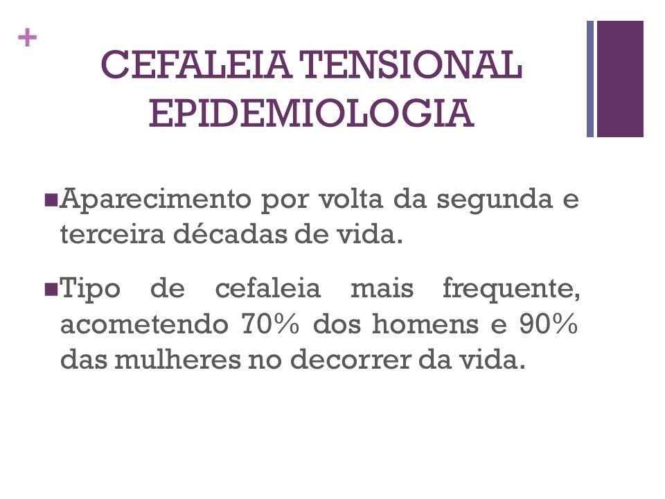 + CEFALEIA TENSIONAL EPIDEMIOLOGIA Aparecimento por volta da segunda e terceira décadas de vida. Tipo de cefaleia mais frequente, acometendo 70% dos h