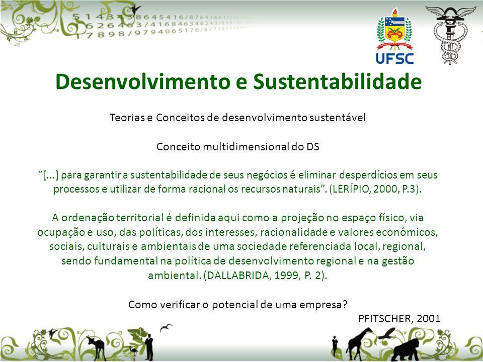 Teorias e Conceitos de desenvolvimento sustentável Conceito multidimensional do DS [...] para garantir a sustentabilidade de seus negócios é eliminar
