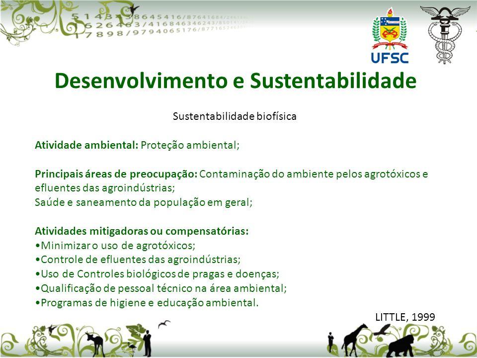 Sustentabilidade biofísica Atividade ambiental: Proteção ambiental; Principais áreas de preocupação: Contaminação do ambiente pelos agrotóxicos e eflu