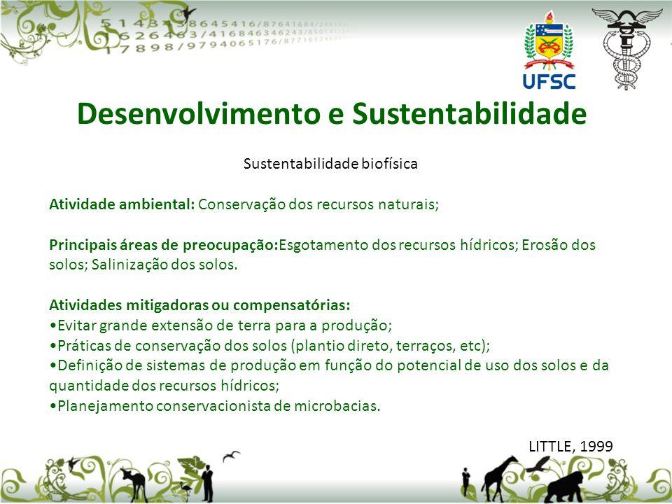Sustentabilidade biofísica Atividade ambiental: Conservação dos recursos naturais; Principais áreas de preocupação:Esgotamento dos recursos hídricos;