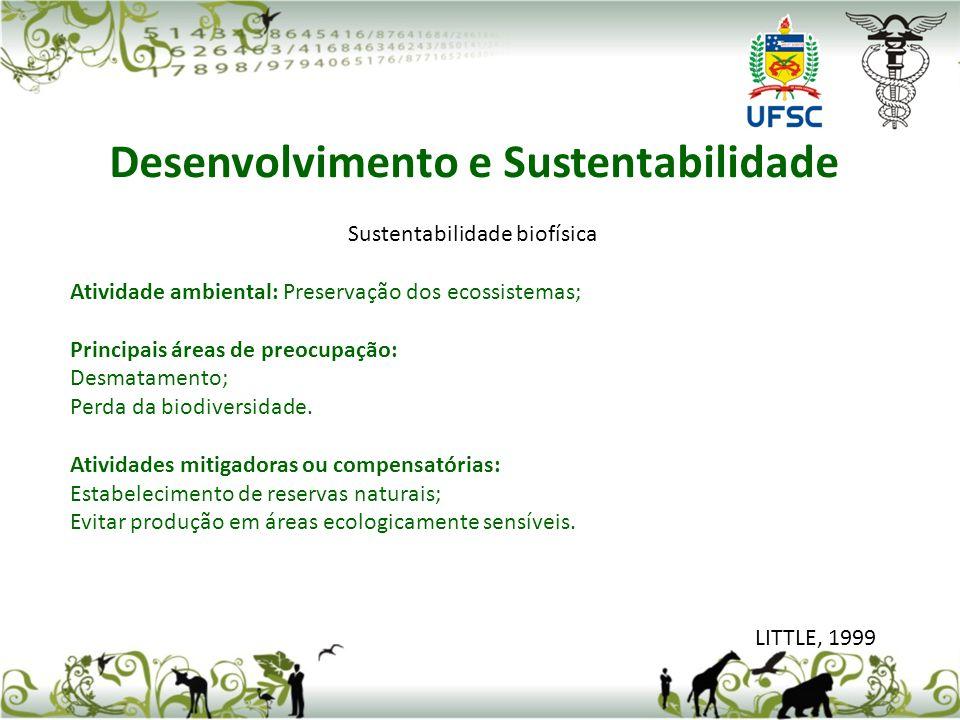 Sustentabilidade biofísica Atividade ambiental: Preservação dos ecossistemas; Principais áreas de preocupação: Desmatamento; Perda da biodiversidade.