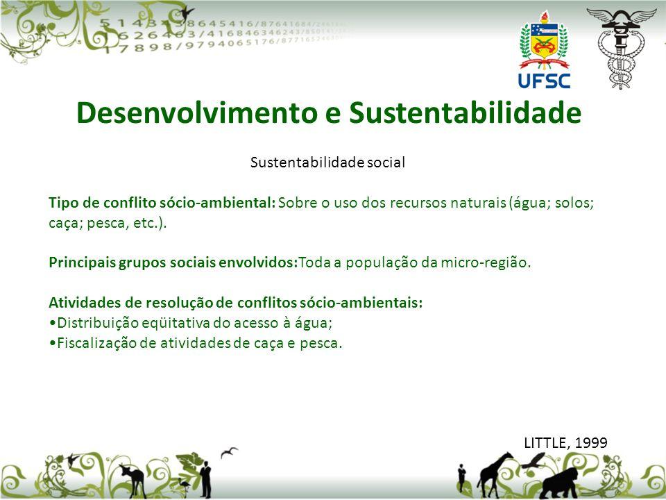 Sustentabilidade social Tipo de conflito sócio-ambiental: Sobre o uso dos recursos naturais (água; solos; caça; pesca, etc.). Principais grupos sociai