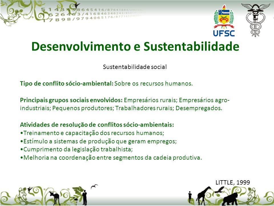 Sustentabilidade social Tipo de conflito sócio-ambiental: Sobre os recursos humanos. Principais grupos sociais envolvidos: Empresários rurais; Empresá