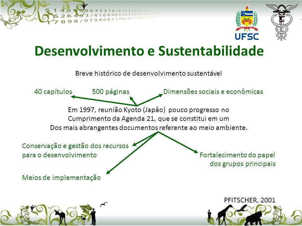 Breve histórico de desenvolvimento sustentável 40 capítulos 500 páginas Dimensões sociais e econômicas Em 1997, reunião Kyoto (Japâo) pouco progresso
