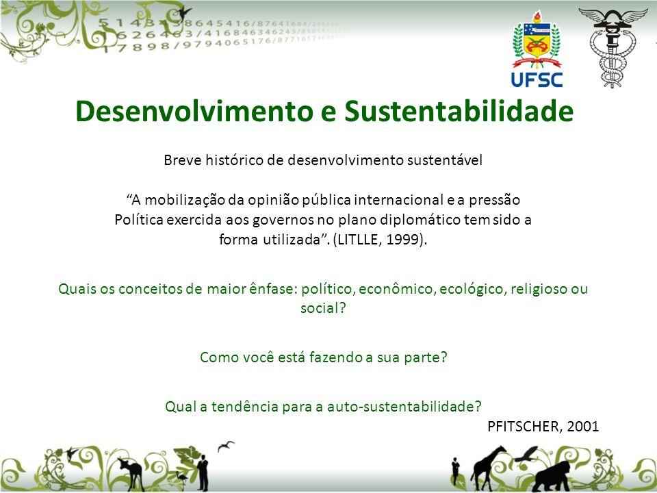 Breve histórico de desenvolvimento sustentável A mobilização da opinião pública internacional e a pressão Política exercida aos governos no plano dipl