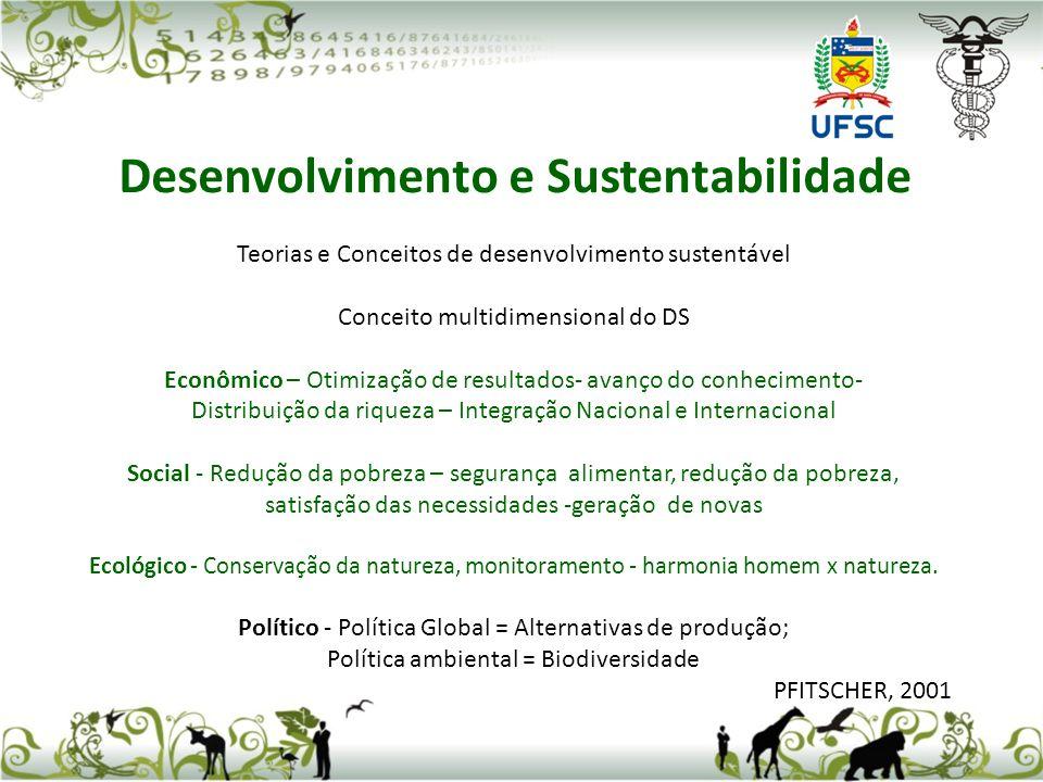 Teorias e Conceitos de desenvolvimento sustentável Conceito multidimensional do DS Econômico – Otimização de resultados- avanço do conhecimento- Distr