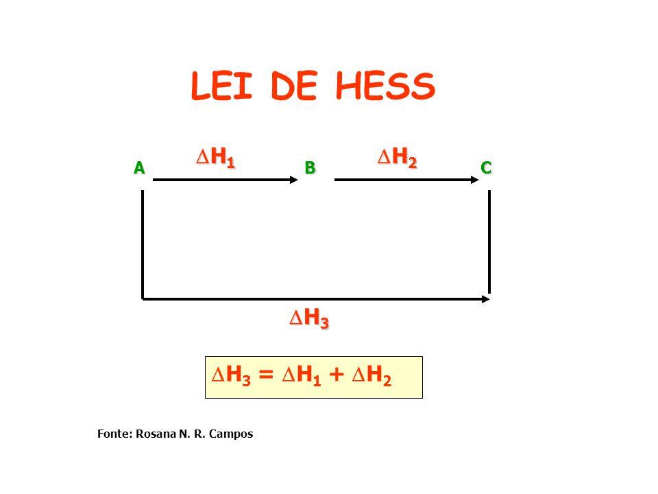 LEI DE HESS BAC H 1 H 1 H 2 H 2 H 3 H 3 H 3 = H 1 + H 2 Fonte: Rosana N. R. Campos
