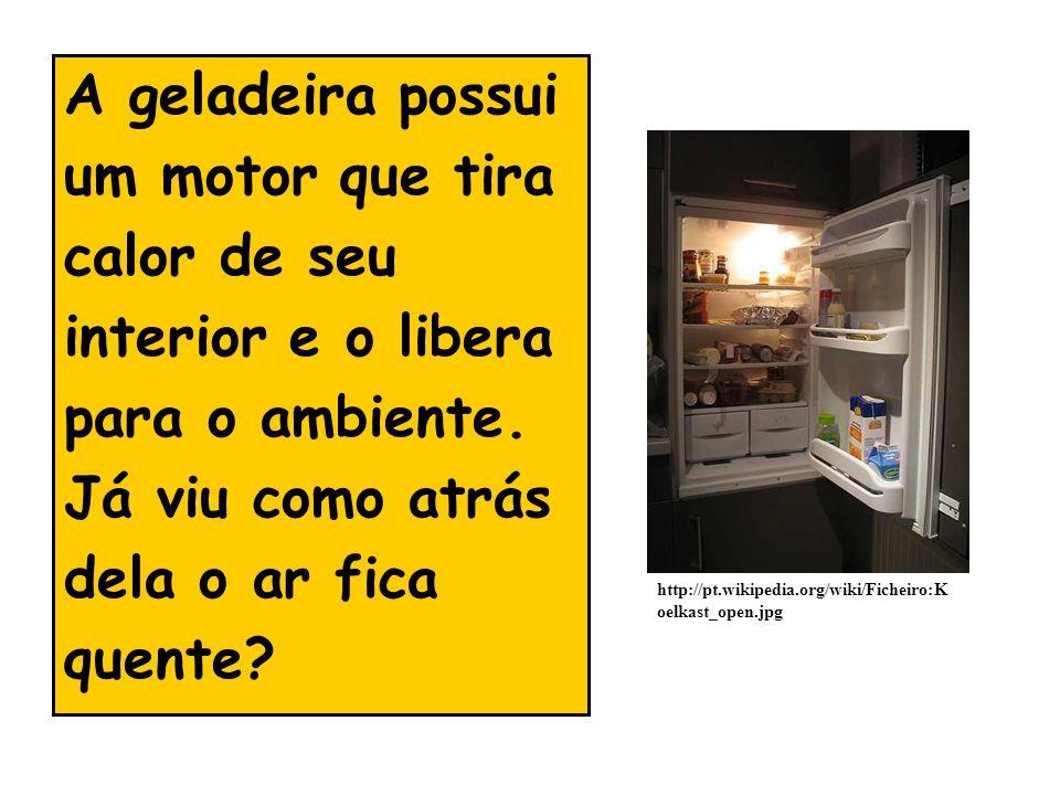 A geladeira possui um motor que tira calor de seu interior e o libera para o ambiente. Já viu como atrás dela o ar fica quente? http://pt.wikipedia.or