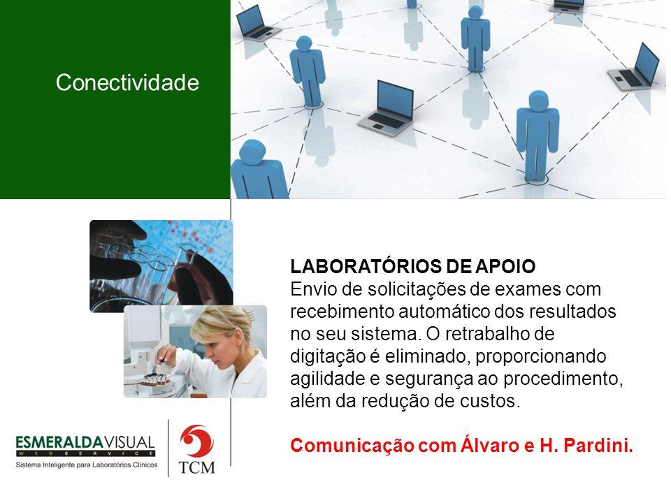 Conectividade LABORATÓRIOS DE APOIO Envio de solicitações de exames com recebimento automático dos resultados no seu sistema.