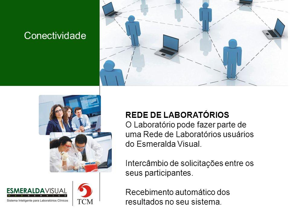 Conectividade REDE DE LABORATÓRIOS O Laboratório pode fazer parte de uma Rede de Laboratórios usuários do Esmeralda Visual.
