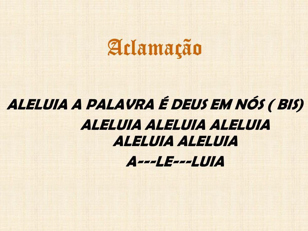 Aclamação ALELUIA A PALAVRA É DEUS EM NÓS ( BIS) ALELUIA ALELUIA ALELUIA ALELUIA ALELUIA A---LE---LUIA