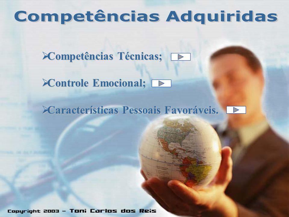 Competências Competências Técnicas; Controle Controle Emocional; Características Características Pessoais Favoráveis.