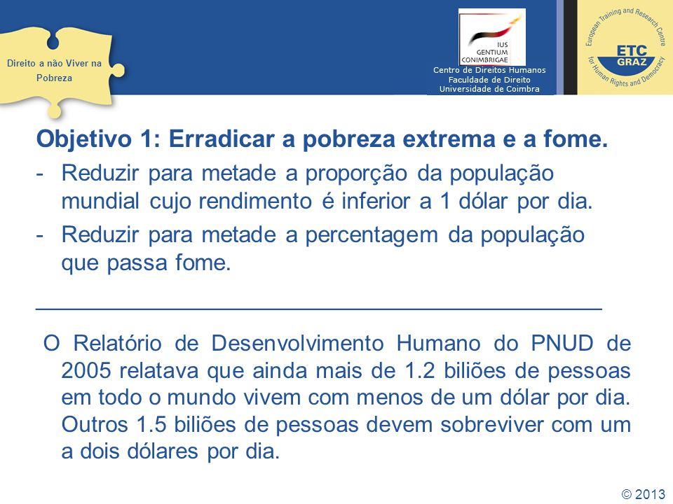 © 2013 Objetivo 2: Alcançar a educação primária universal.