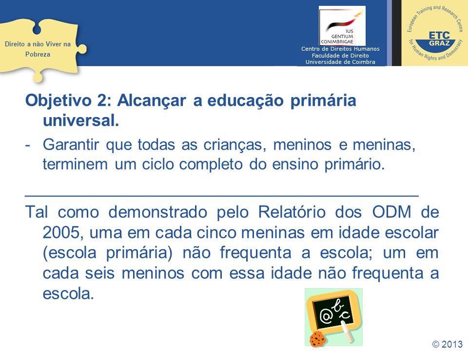© 2013 Objetivo 3: Promover a igualdade do género e empoderar as mulheres.