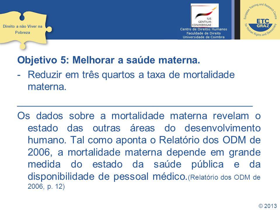 © 2013 Objetivo 6: Combater o VIH/SIDA, a malária e outras doenças.