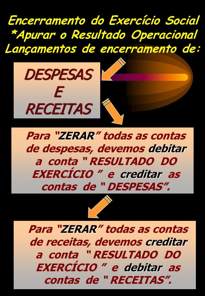 DESPESAS E RECEITAS ZERAR debitar creditar Para ZERAR todas as contas de despesas, devemos debitar a conta RESULTADO DO EXERCÍCIO e creditar as contas