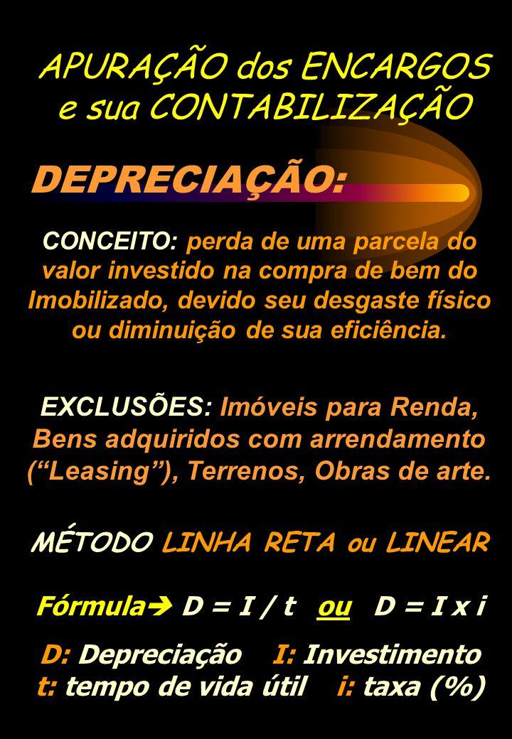 APURAÇÃO dos ENCARGOS e sua CONTABILIZAÇÃO DEPRECIAÇÃO: CONCEITO: perda de uma parcela do valor investido na compra de bem do Imobilizado, devido seu