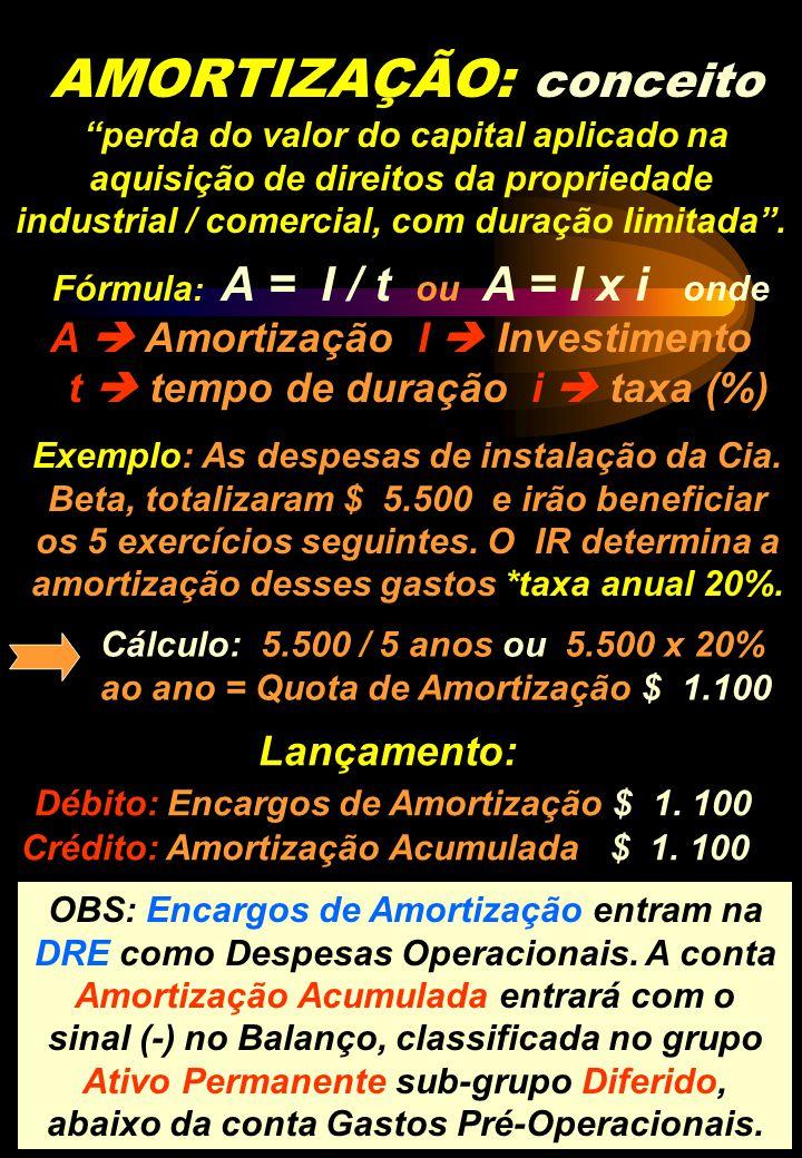 AMORTIZAÇÃO: conceito perda do valor do capital aplicado na aquisição de direitos da propriedade industrial / comercial, com duração limitada. Fórmula