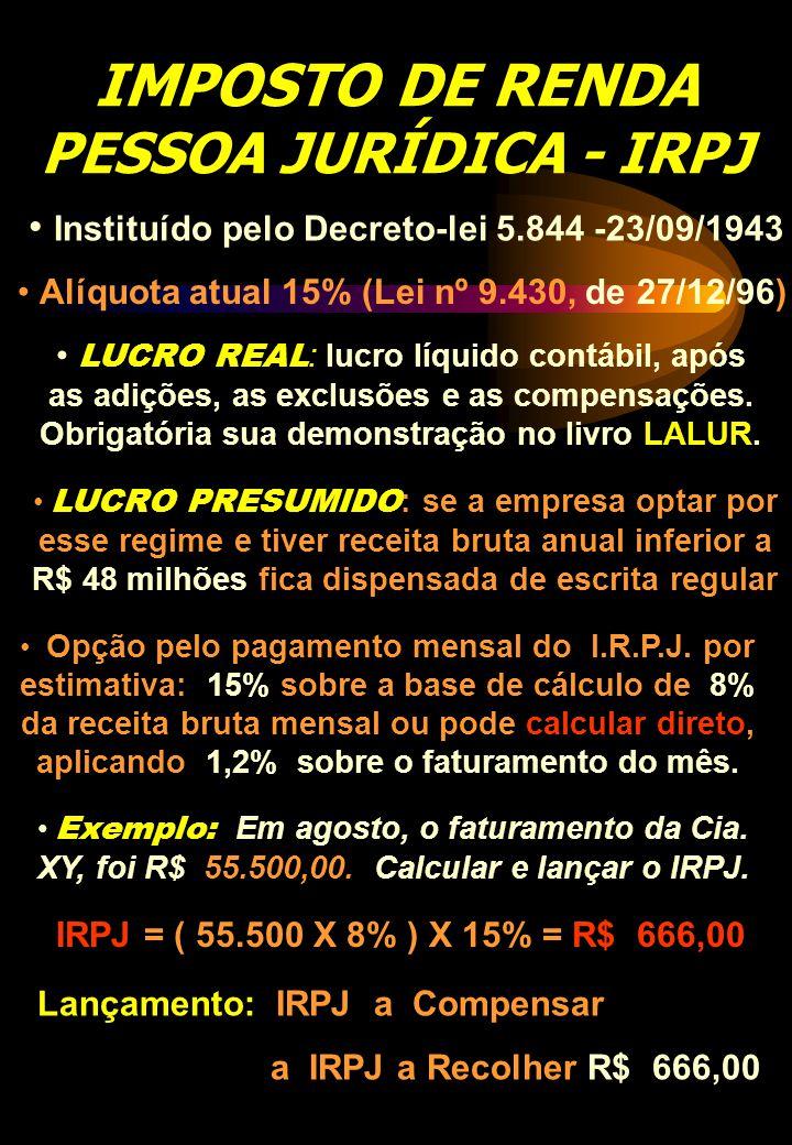 IMPOSTO DE RENDA PESSOA JURÍDICA - IRPJ Instituído pelo Decreto-lei 5.844 -23/09/1943 Alíquota atual 15% (Lei nº 9.430, de 27/12/96) LUCRO REAL : lucr