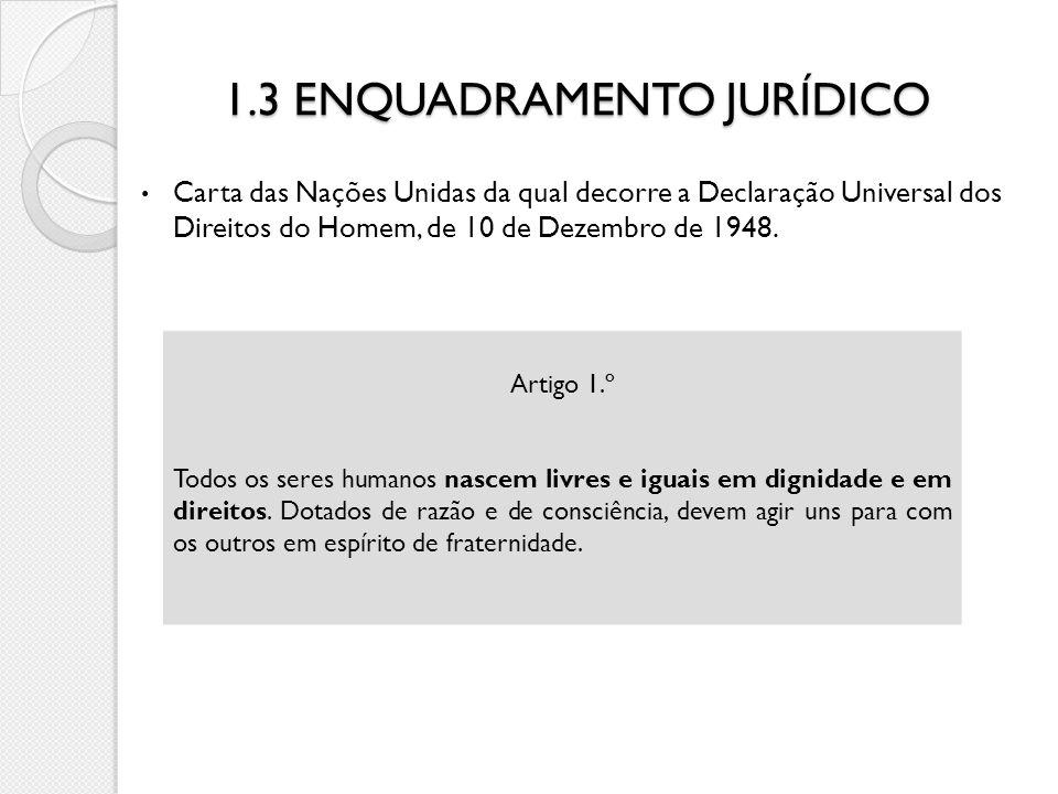 1.3 ENQUADRAMENTO JURÍDICO Carta das Nações Unidas da qual decorre a Declaração Universal dos Direitos do Homem, de 10 de Dezembro de 1948. Artigo 1.º