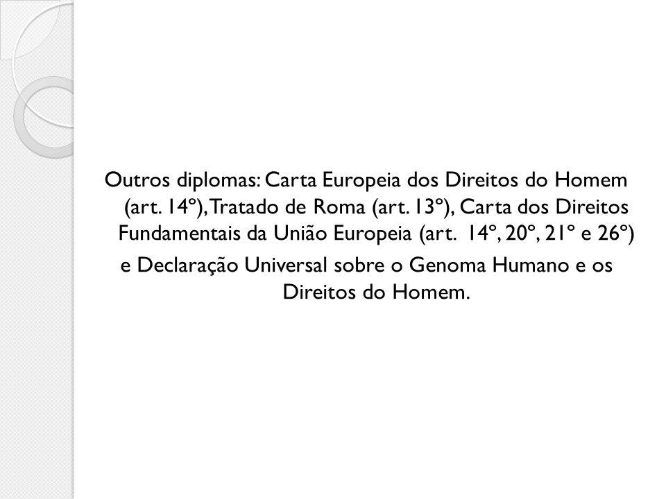 Outros diplomas: Carta Europeia dos Direitos do Homem (art. 14º), Tratado de Roma (art. 13º), Carta dos Direitos Fundamentais da União Europeia (art.