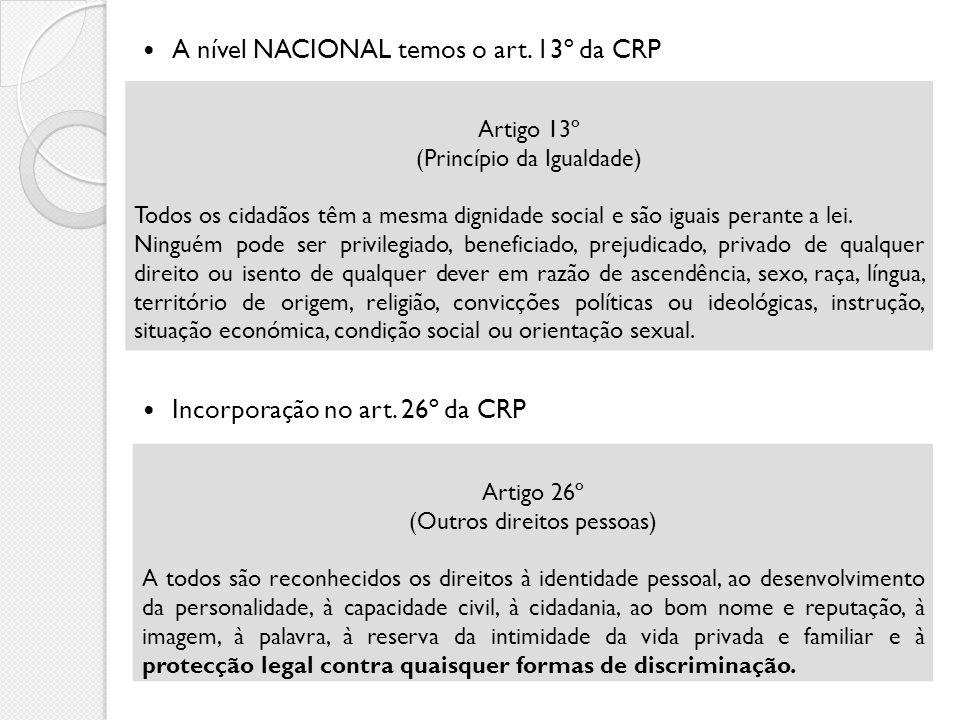 A nível NACIONAL temos o art. 13º da CRP Incorporação no art. 26º da CRP Artigo 13º (Princípio da Igualdade) Todos os cidadãos têm a mesma dignidade s