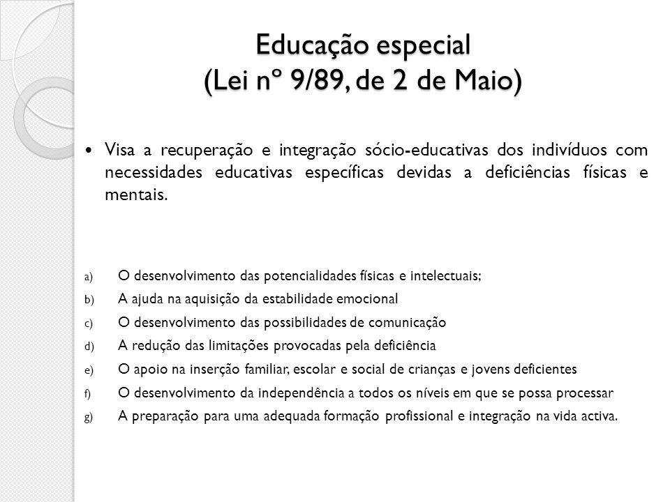 Educação especial (Lei nº 9/89, de 2 de Maio) Visa a recuperação e integração sócio-educativas dos indivíduos com necessidades educativas específicas