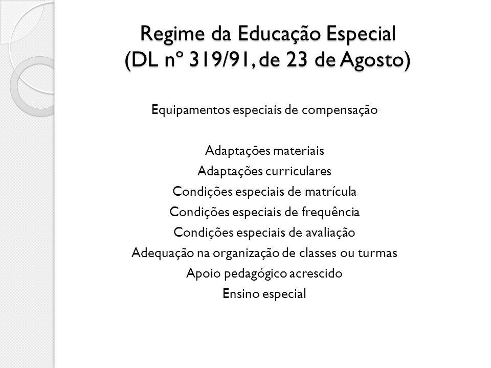 Regime da Educação Especial (DL nº 319/91, de 23 de Agosto) Equipamentos especiais de compensação Adaptações materiais Adaptações curriculares Condiçõ